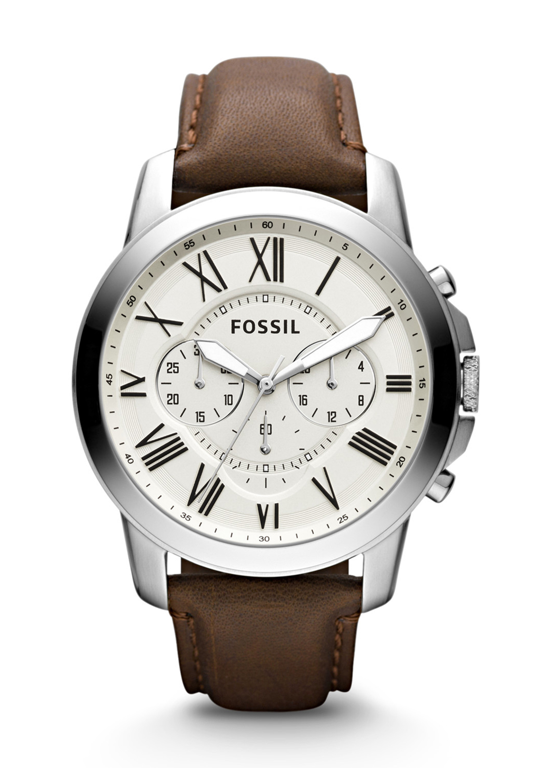 Fossil Mens Grant Chronograph Leather Strap Watch, Brown