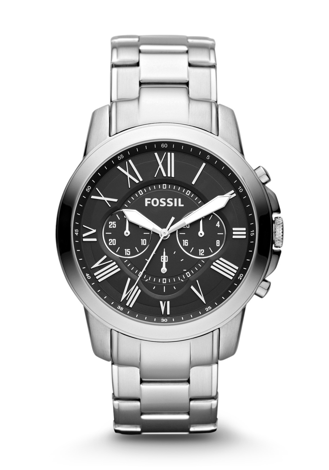 Fossil Mens Grant Chronograph Watch, Stainless Steel Silver