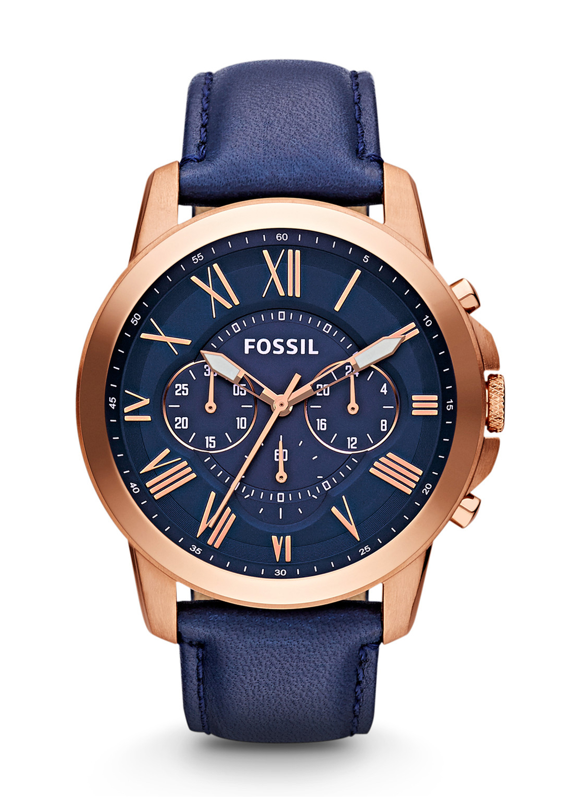 Fossil Mens Grant Chronograph Leather Strap Watch, Navy