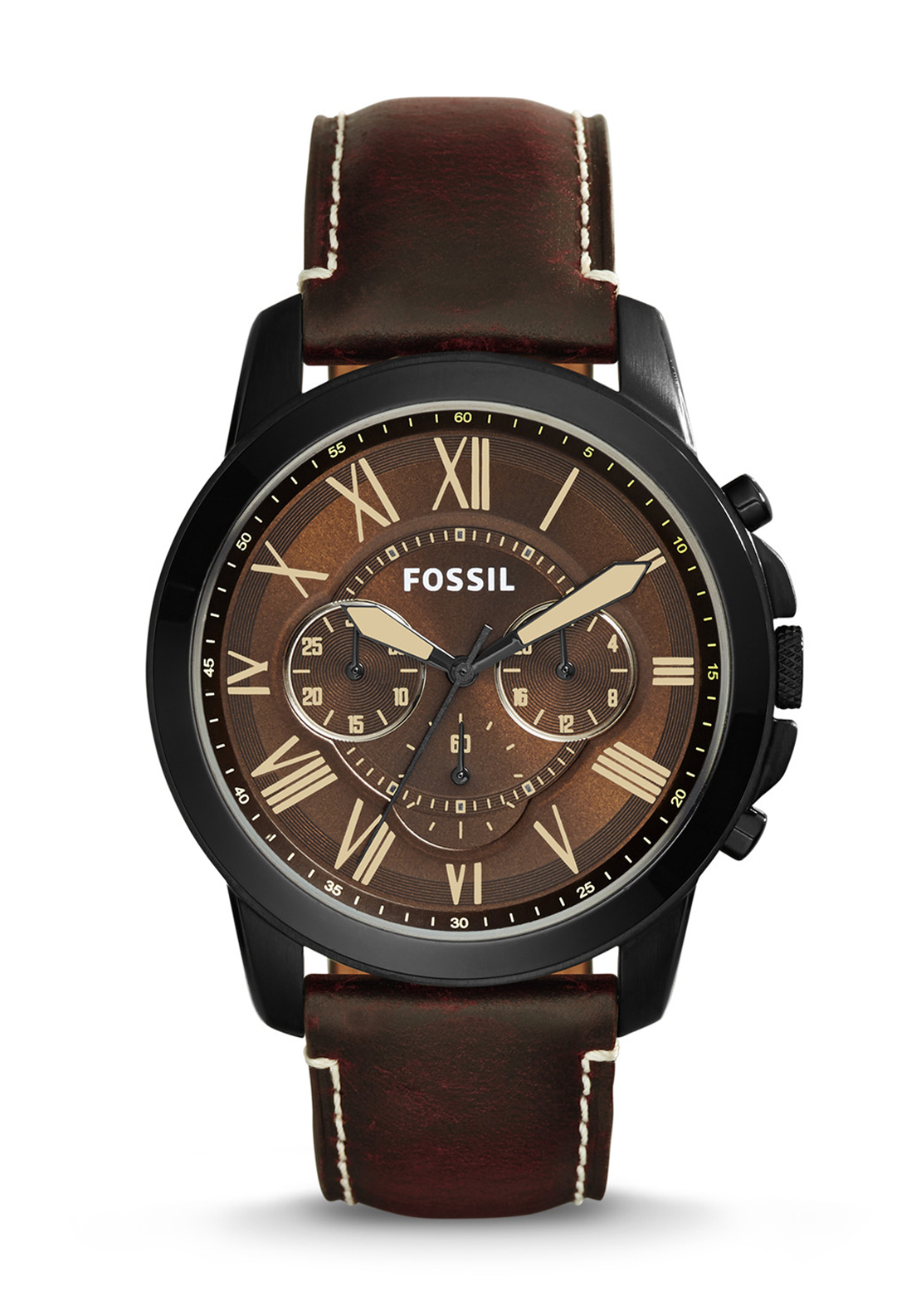 Fossil Mens Chronograph Leather Strap Watch, Bordeaux