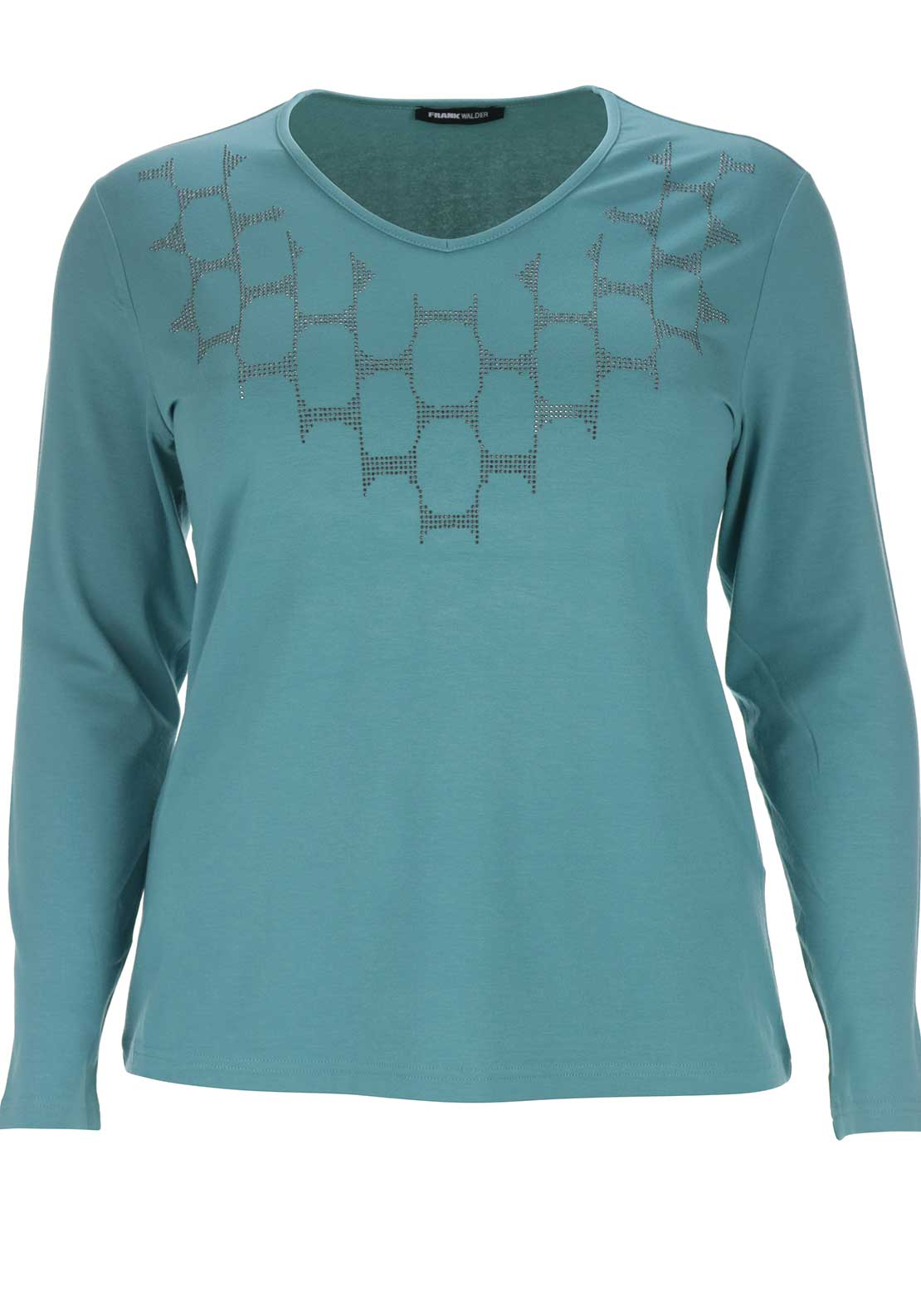 Frank Walder Embellished Top, Aqua Green