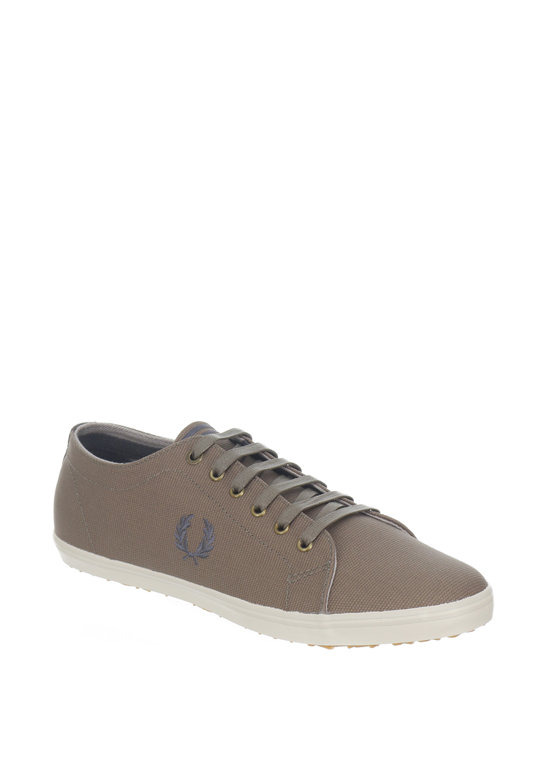 Fred Perry Kingston Coated Canvas Trainers, Olive Green