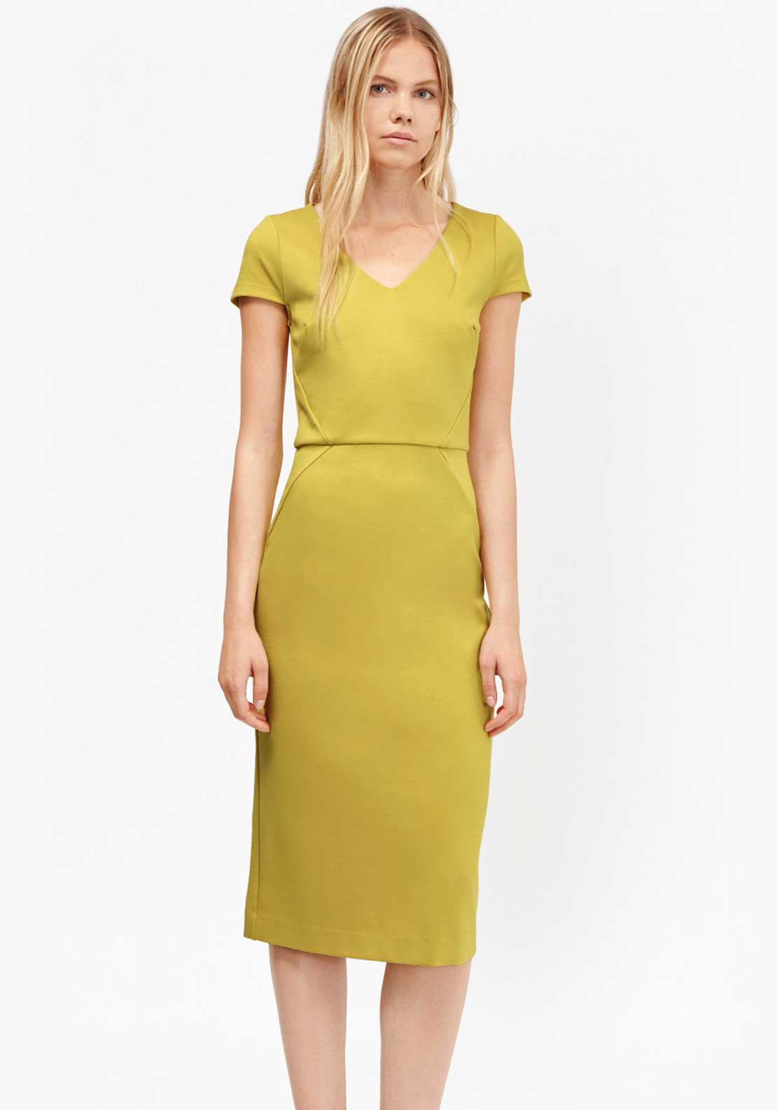French Connection Lula Fitted Midi Dress, Dark Yellow