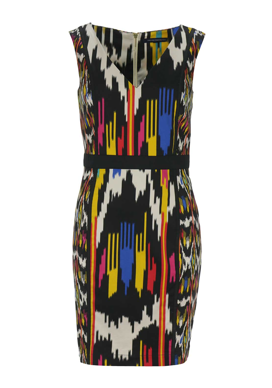 French Connection Womens Stripe Bodycon Dress, Black Multi