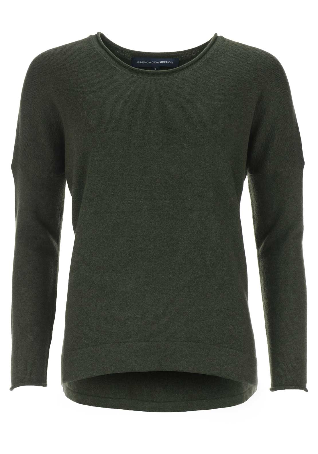 French Connection Womens Viva Wool Blend Sweater Jumper, Dark Olive Green