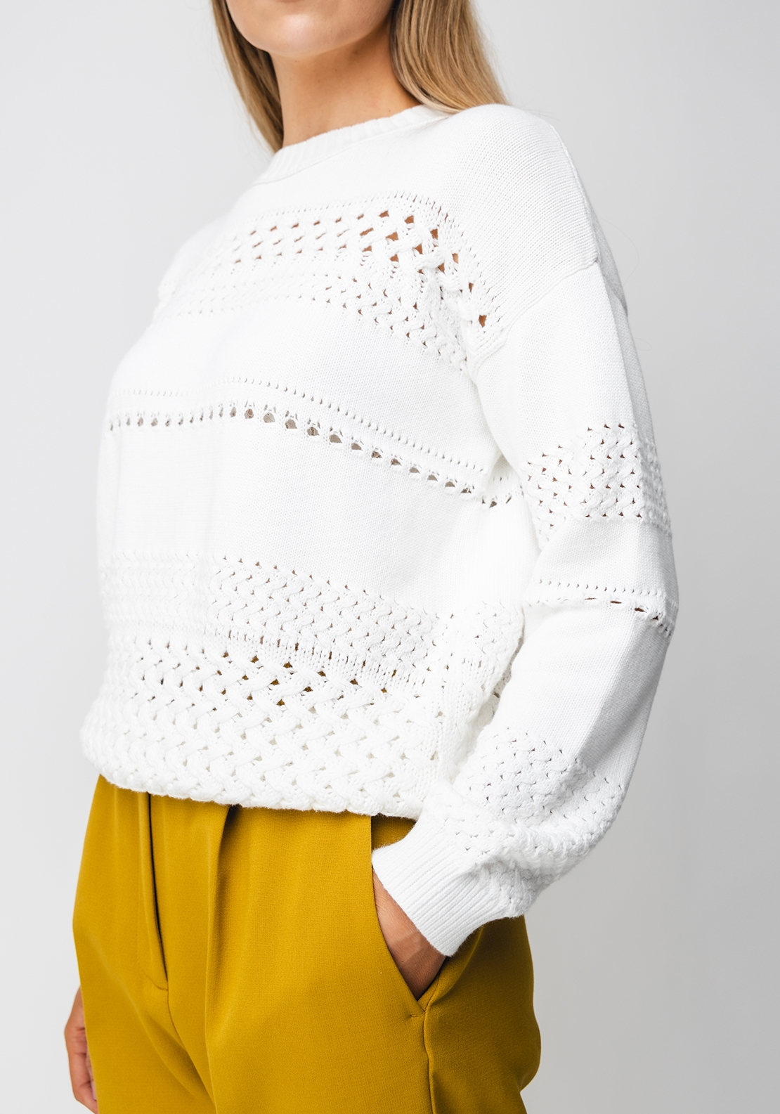 French Connection Trista Mozart Knit Jumper, White