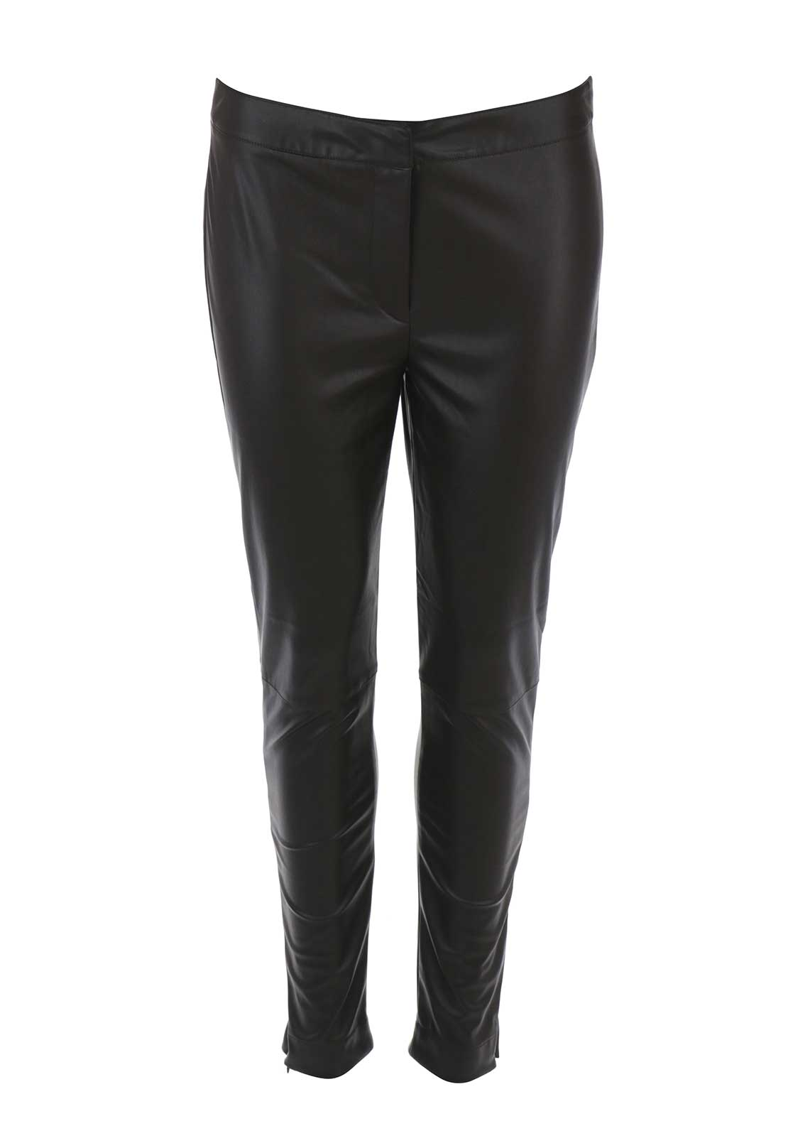French Connection Womens Faux Leather Trousers, Brown