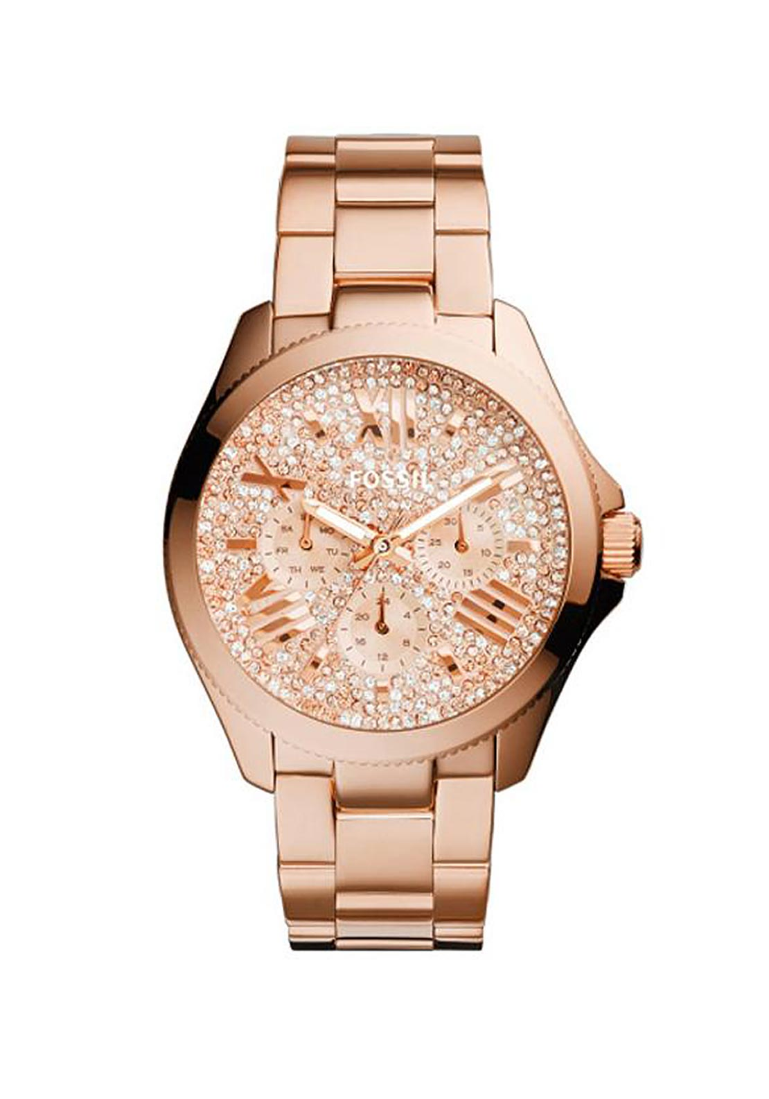 Fossil Womens Cecile Glitz Watch, Rose Gold