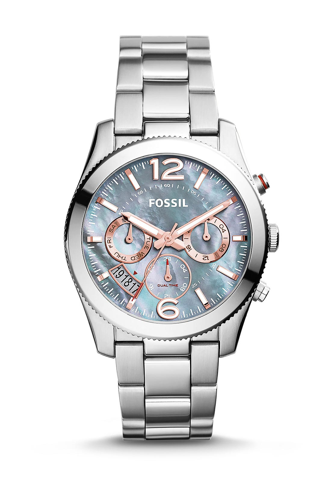 Fossil Womens Perfect Boyfriend Multifunction Stainless Steel Watch, Silver & Rose Gold