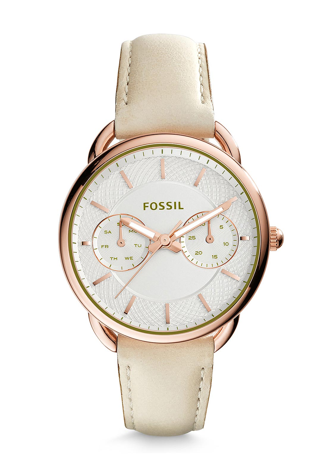 Fossil Womens Tailor Multi-Function Watch, Light Brown & Rose Gold