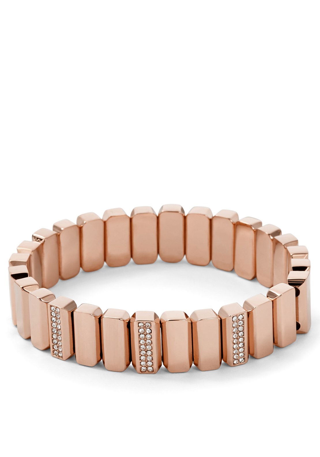Fossil Womens Metal Bead Stretch Bracelet, Rose Gold