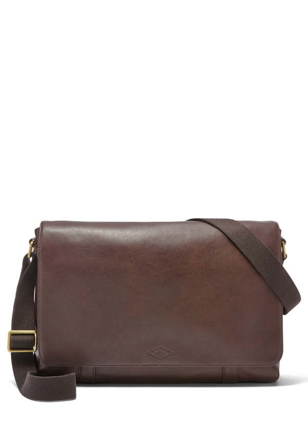 Fossil Mens Aiden EW Messenger Bag, Dark Brown