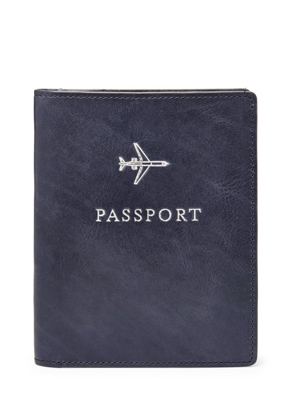 Fossil Mens Passport Cover, Navy