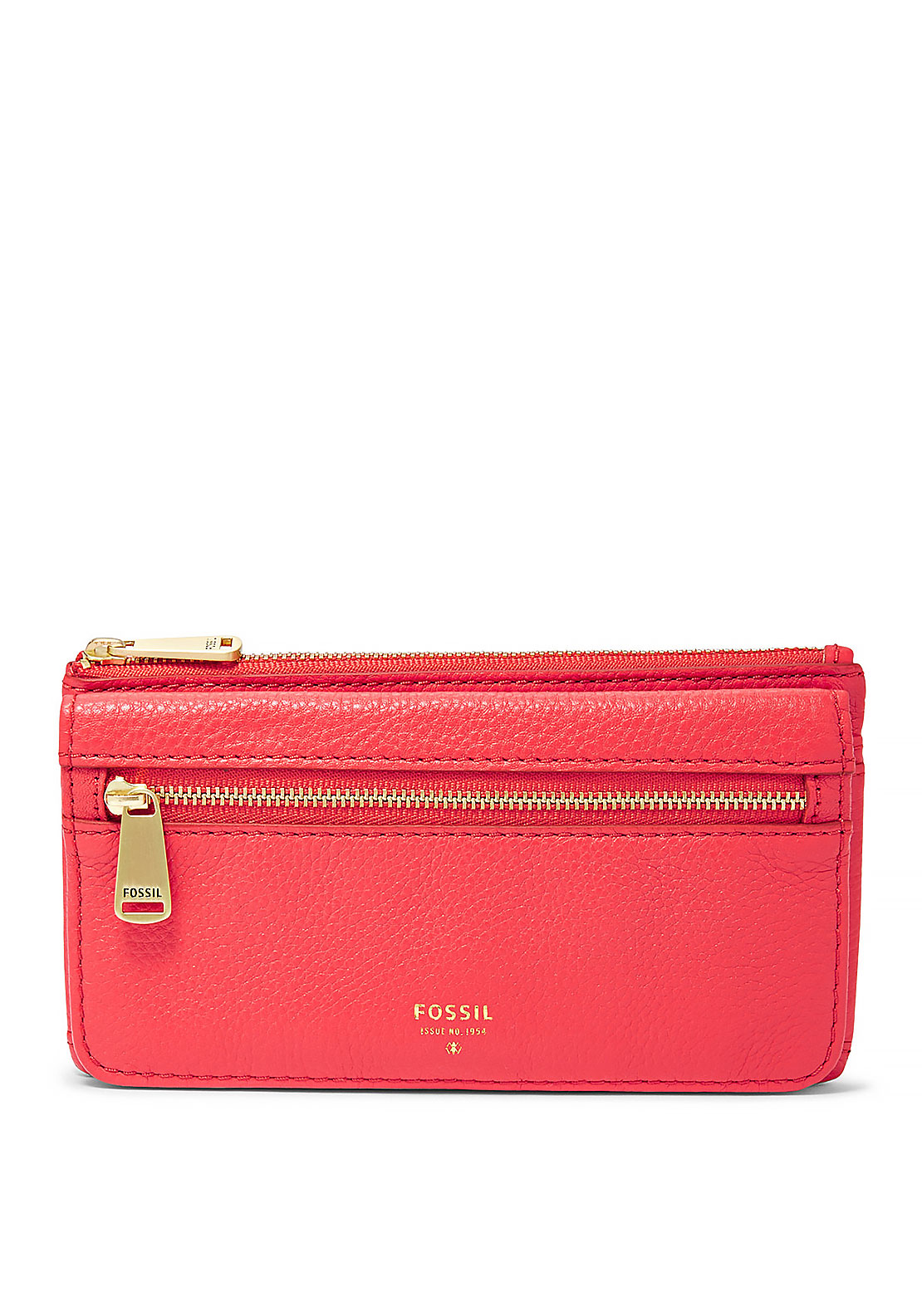 Fossil Preston Leather Flap Wallet, Tomato Red