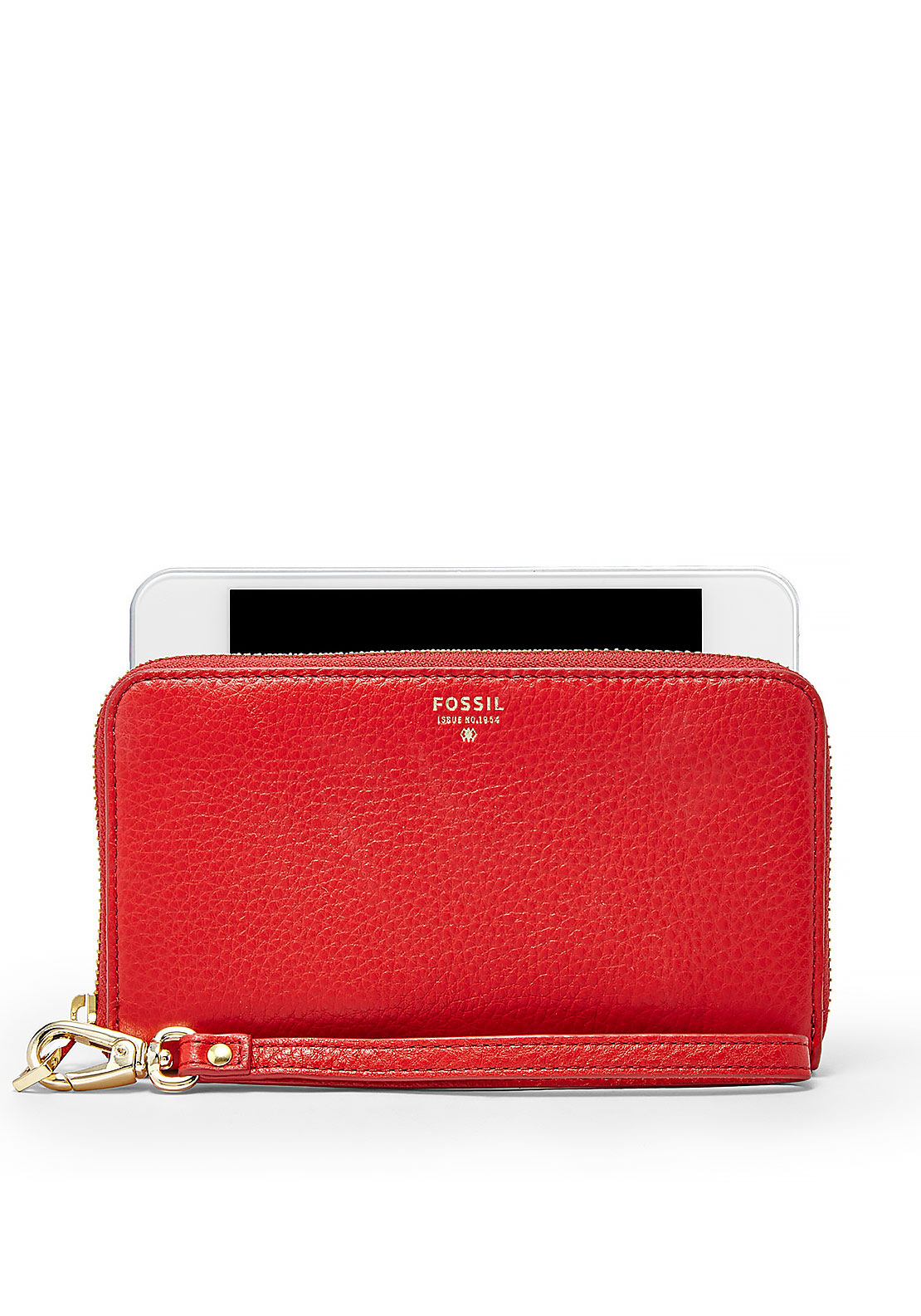Fossil Sydney Zipped Leather Phone Wallet, Tomato Red