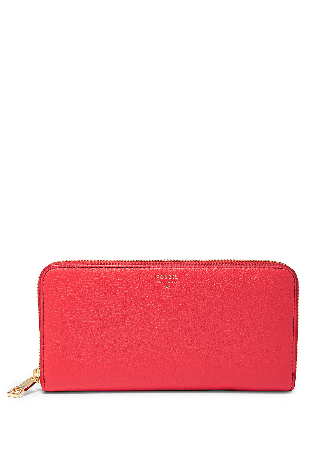 Fossil Sydney Large Leather Zipped Wallet, Tomato Red