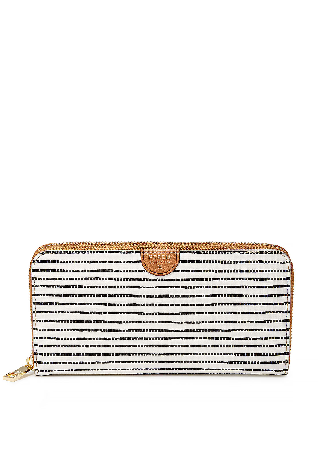 Fossil Sydney Striped Zipped Wallet, White and Black
