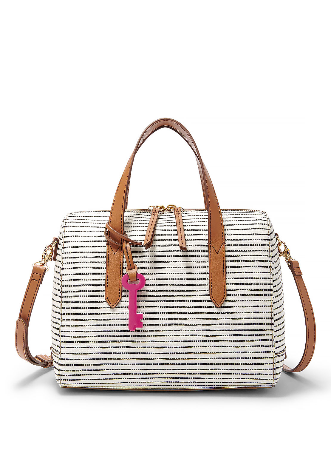 Fossil Sydney Striped Satchel Bag, White and Black