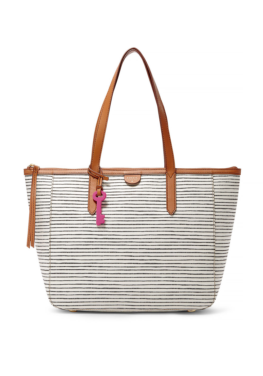 Fossil Sydney Striped Shopper Tote Bag, White and Black