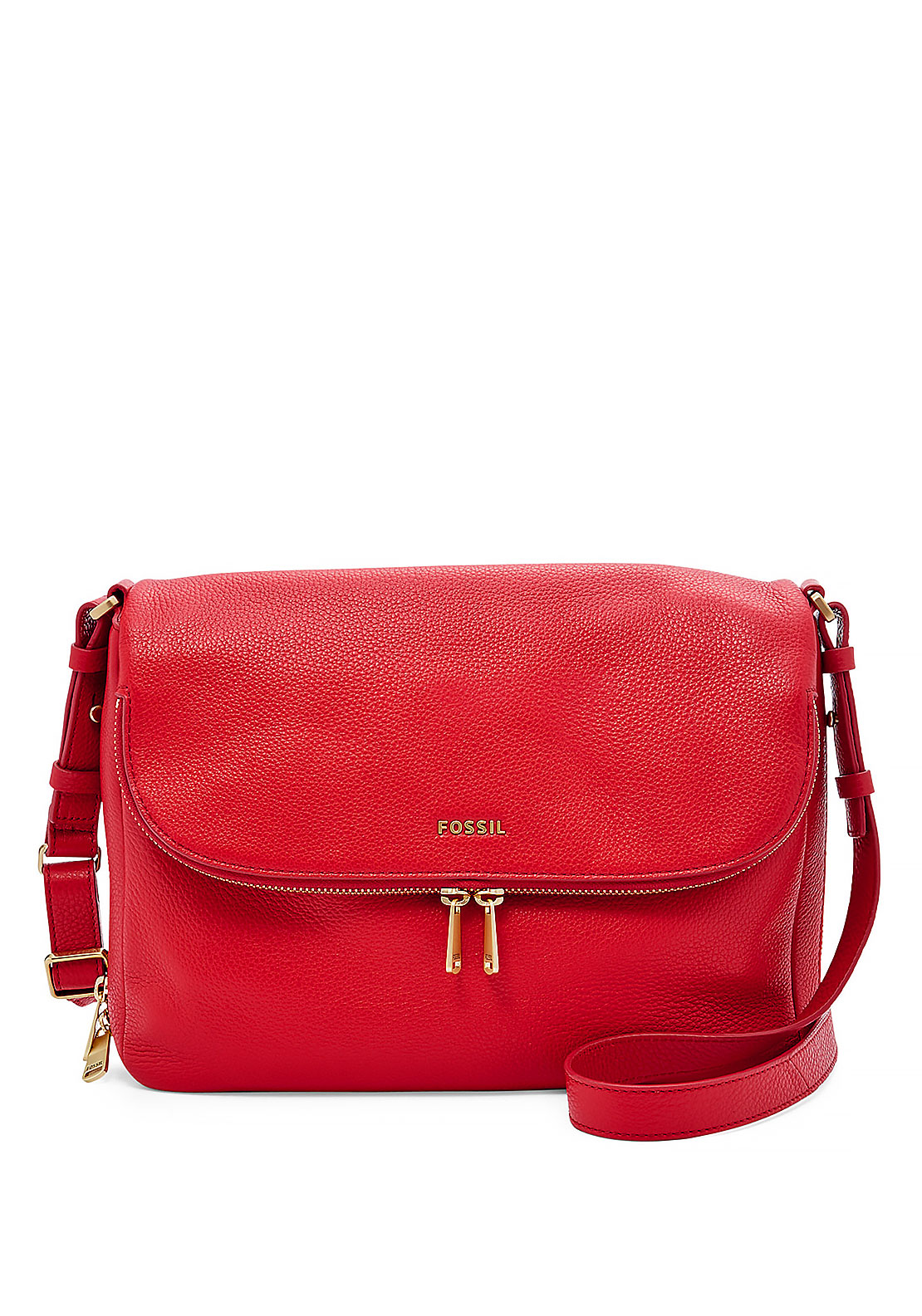 Fossil Preston Leather Flap Crossbody Bag, Tomato Red
