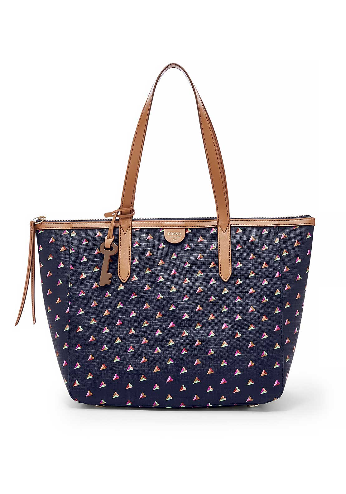 Fossil Sydney Hearts Shopper Bag, Navy