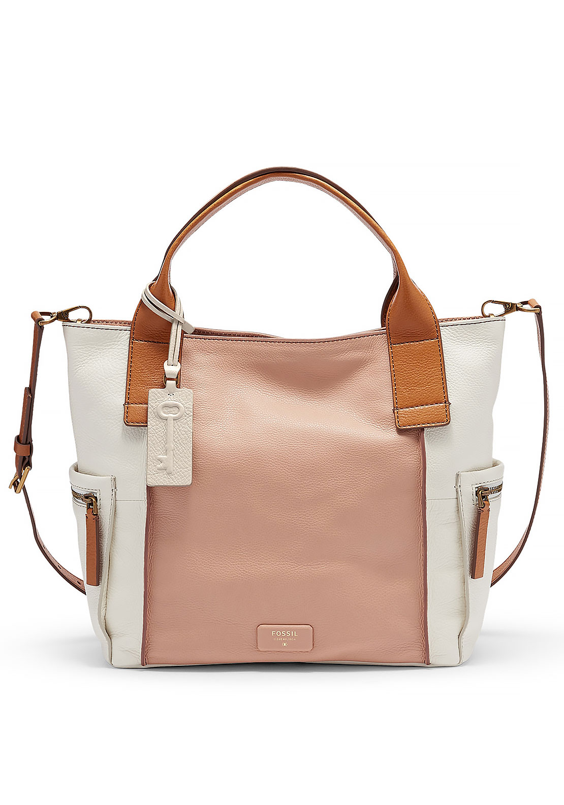 Fossil Emerson Colour Block Leather Satchel Bag, Shell and White
