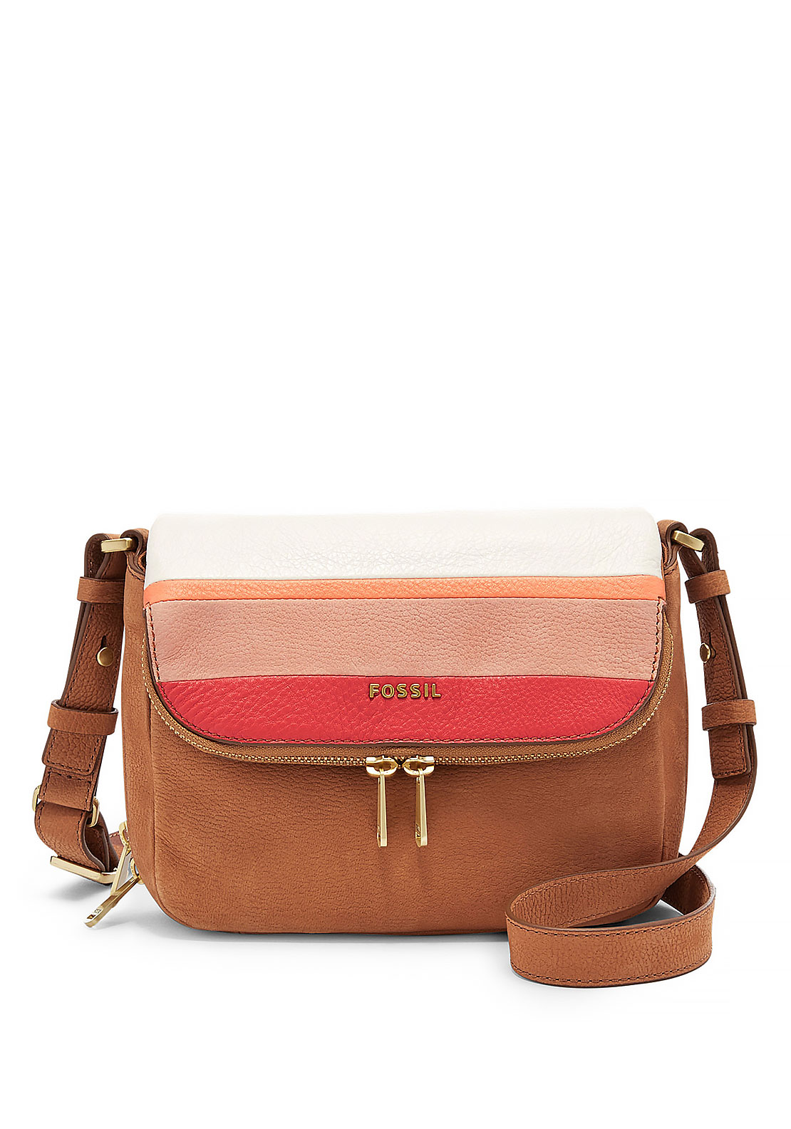 Fossil Preston Small Leather Flap Crossbody Bag, Tan Multi