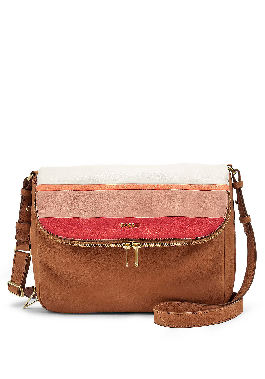 Fossil Preston Leather Flap Crossbody Bag, Tan Multi