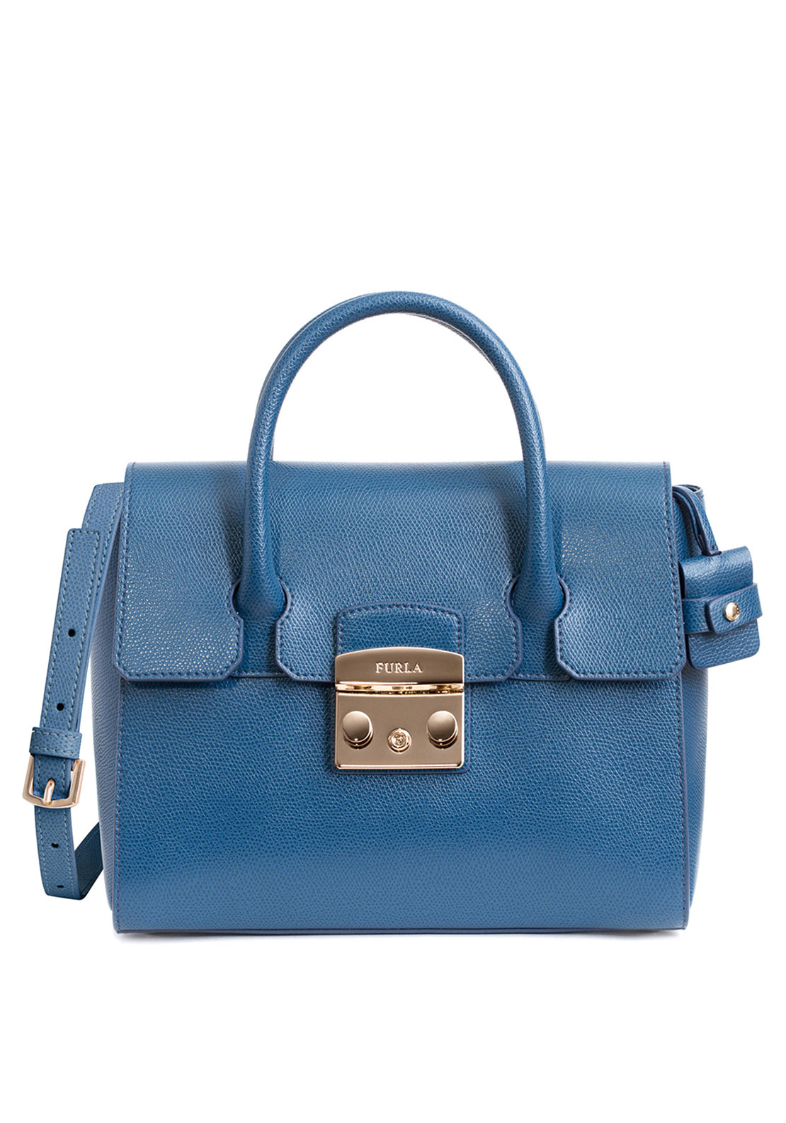 Furla Metropolis Leather Small Satchel Bag, Blue