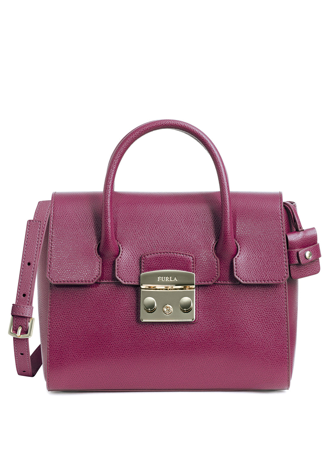 Furla Metropolis Leather Small Satchel Bag, Pink