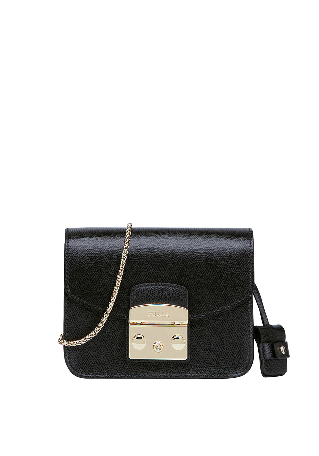 Furla Metropolis Leather Crossbody Mini Bag, Black