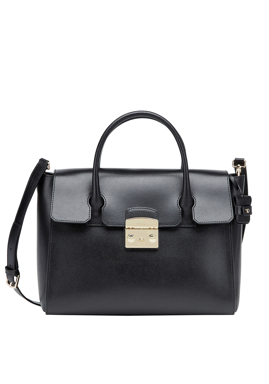 Furla Metropolis Leather Medium Satchel Bag, Black