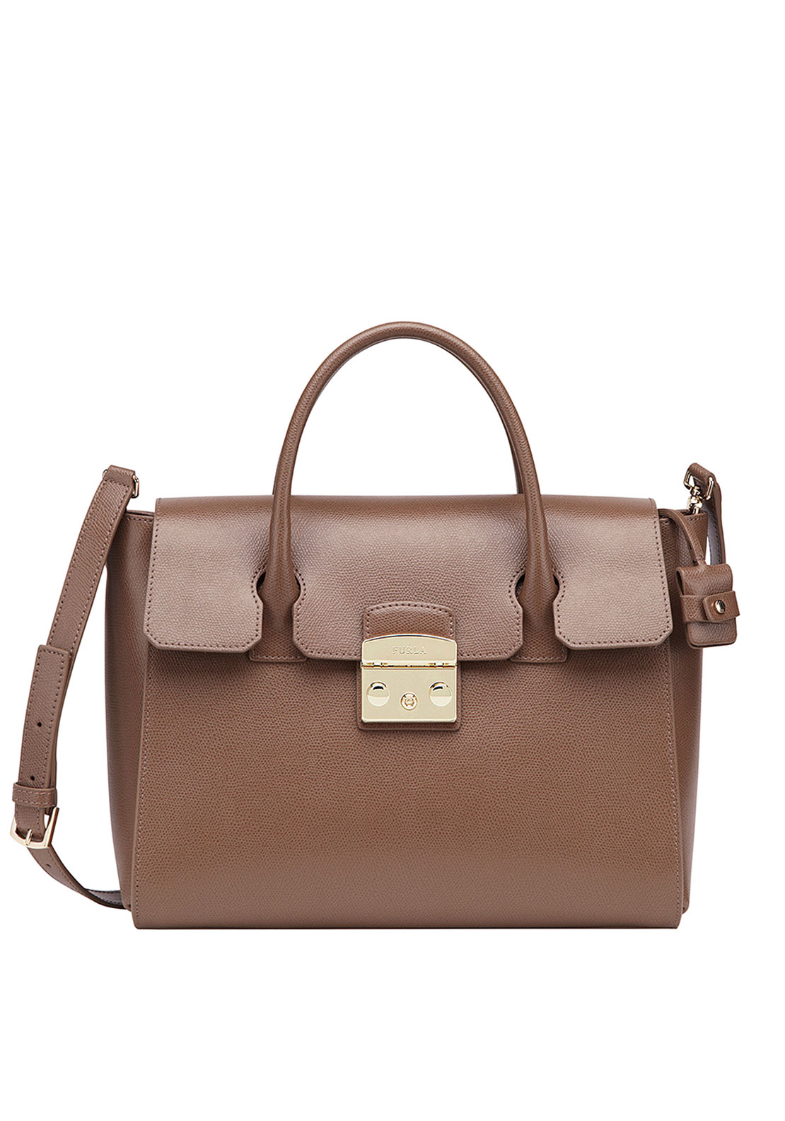 Furla Metropolis Leather Medium Satchel Bag, Brown