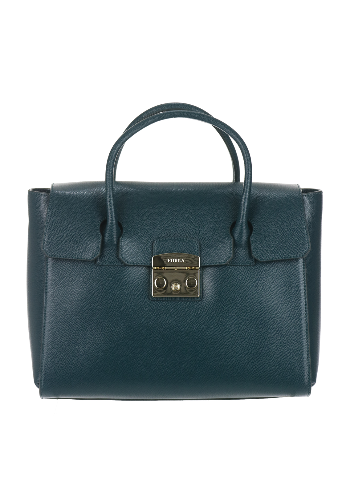 Furla Metropolis Leather Medium Satchel Bag, Teal Green
