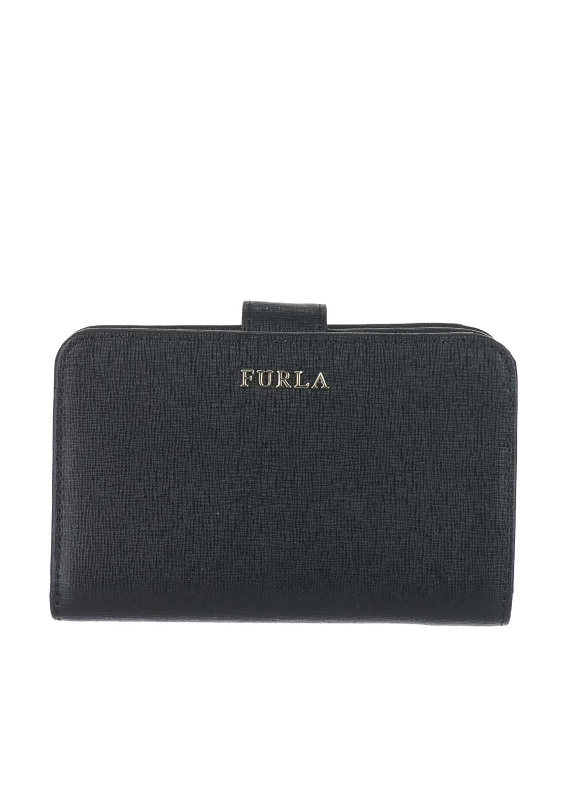 Furla Babylon Leather Fold over Purse, Black