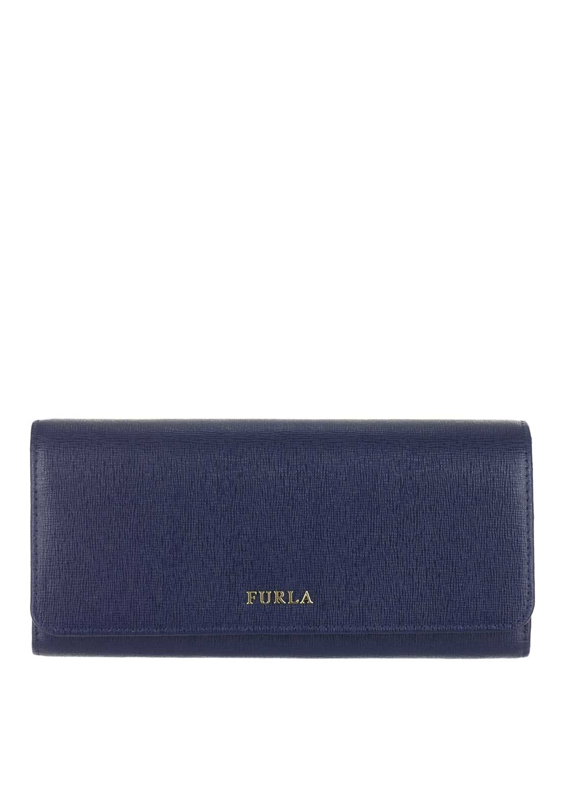 Furla Babylon Leather Drop Down Purse, Navy