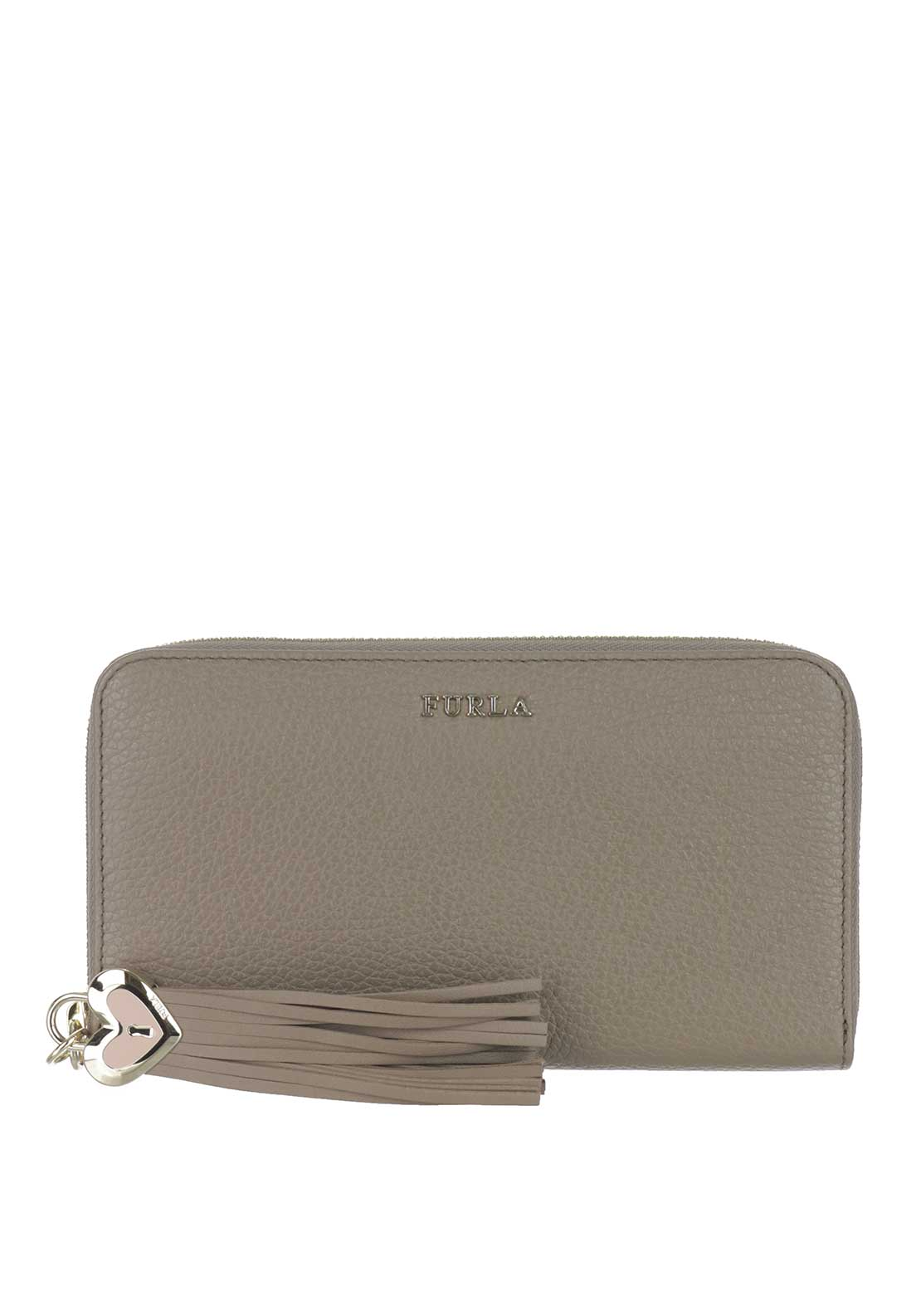 Furla Cuore Leather Zip Around Purse, Brown