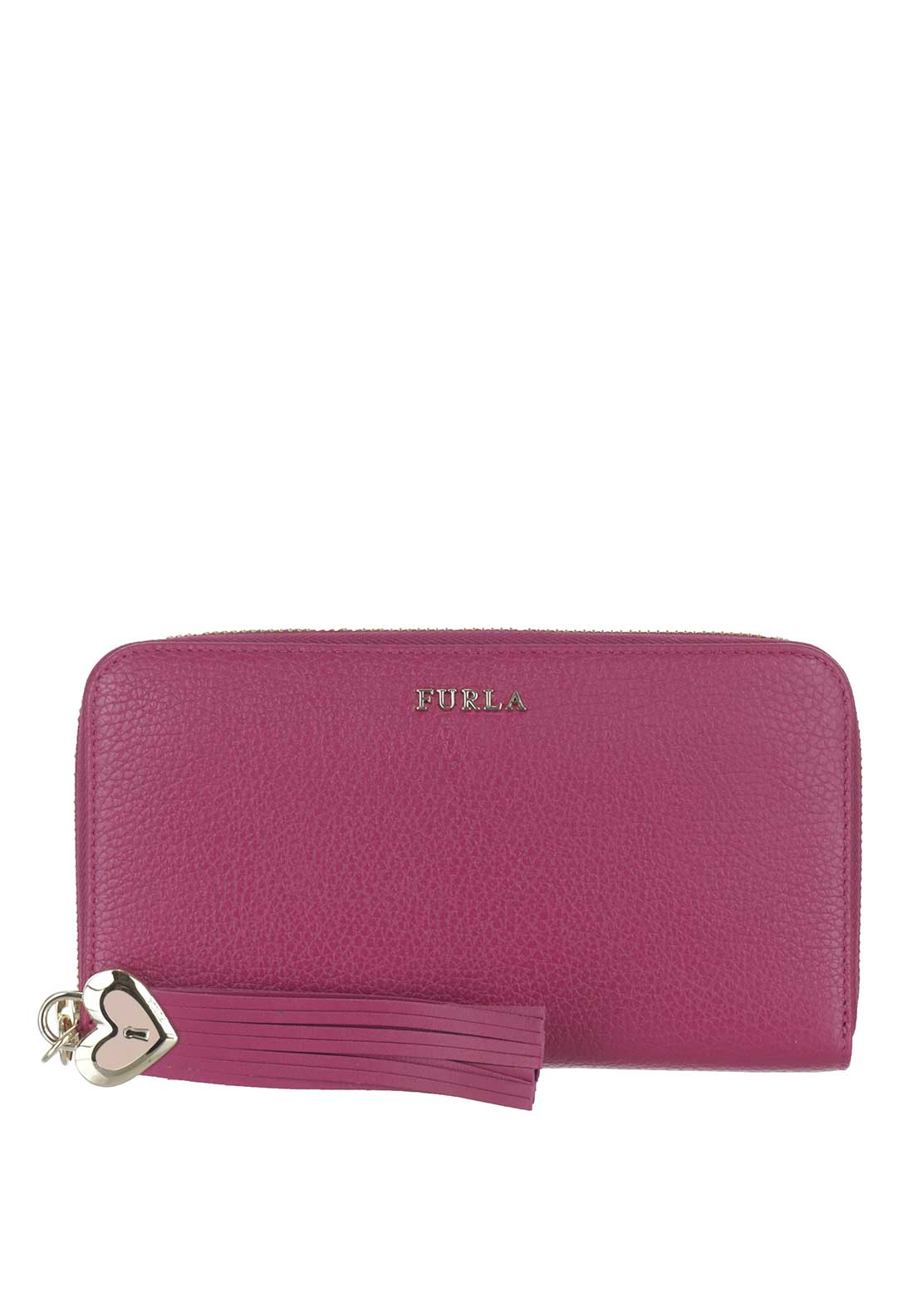 Furla Cuore Leather Zip Around Purse, Pink