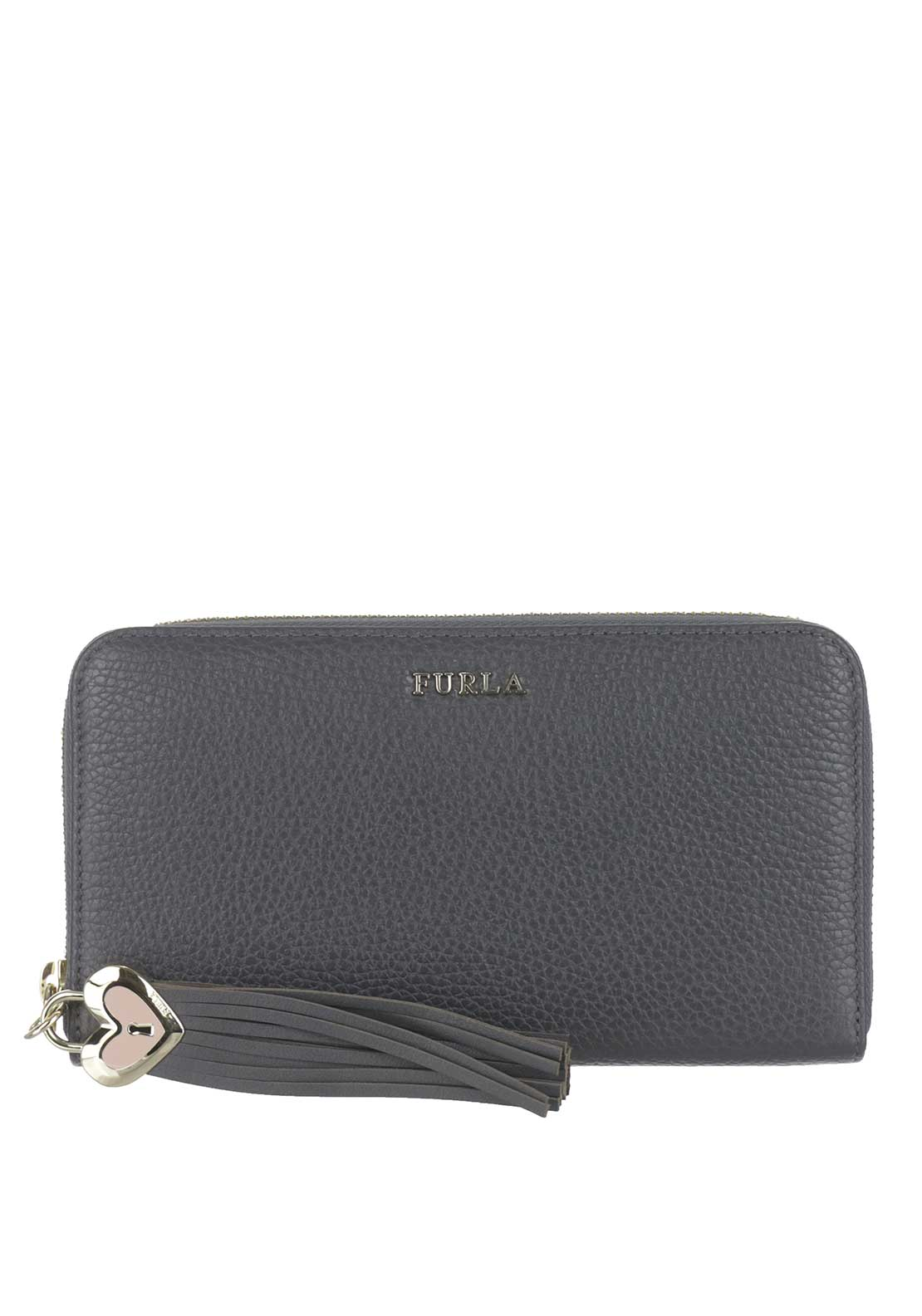 Furla Cuore Leather Zip Around Purse, Grey