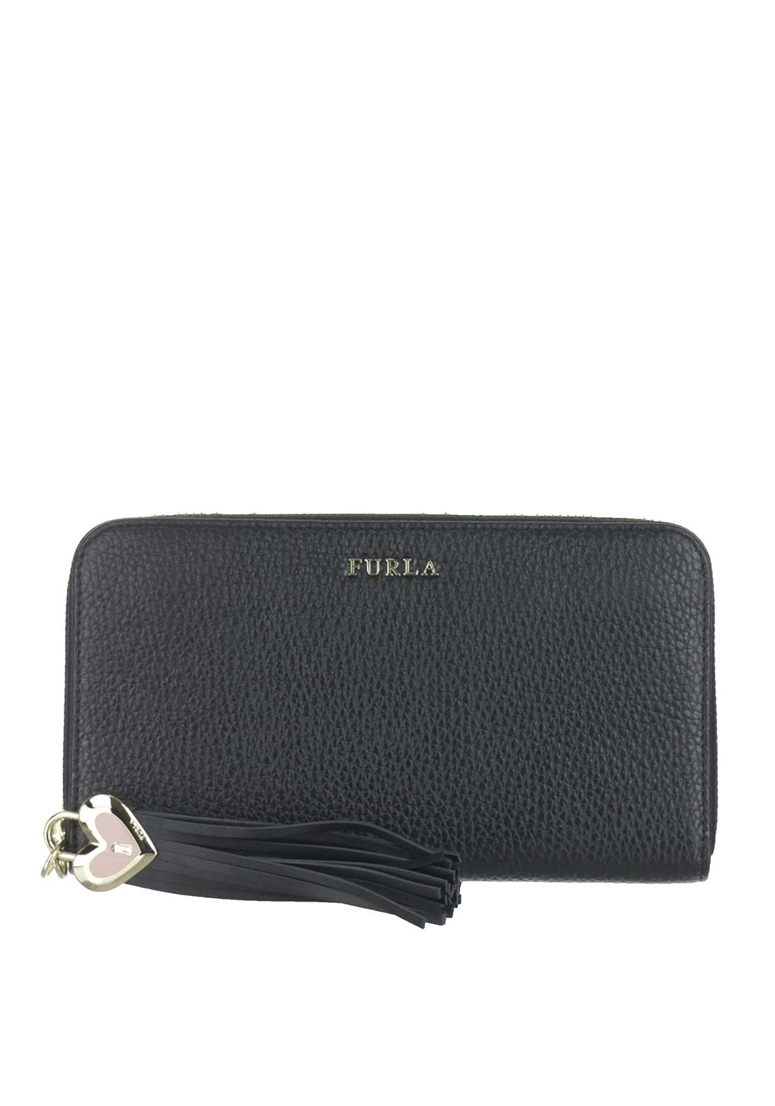 Furla Cuore Leather Zip Around Purse, Black