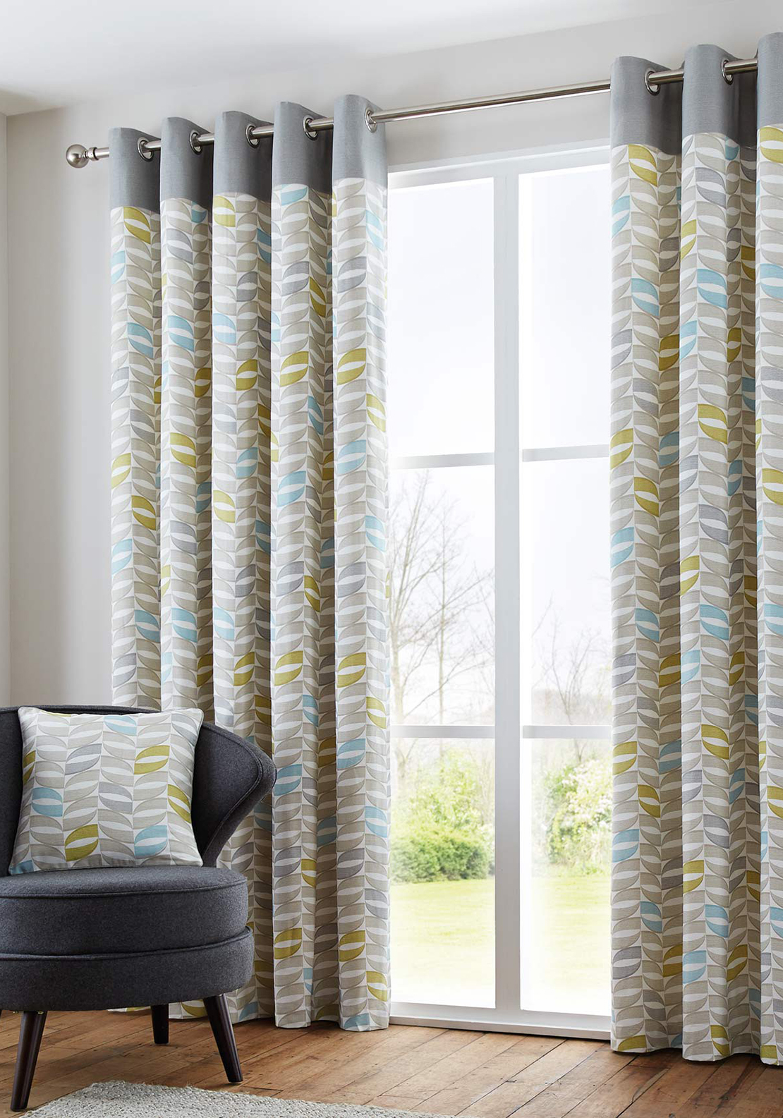 Fusion Home Furnishings Copeland Printed Fully Lined Eyelet Curtains, Duckegg