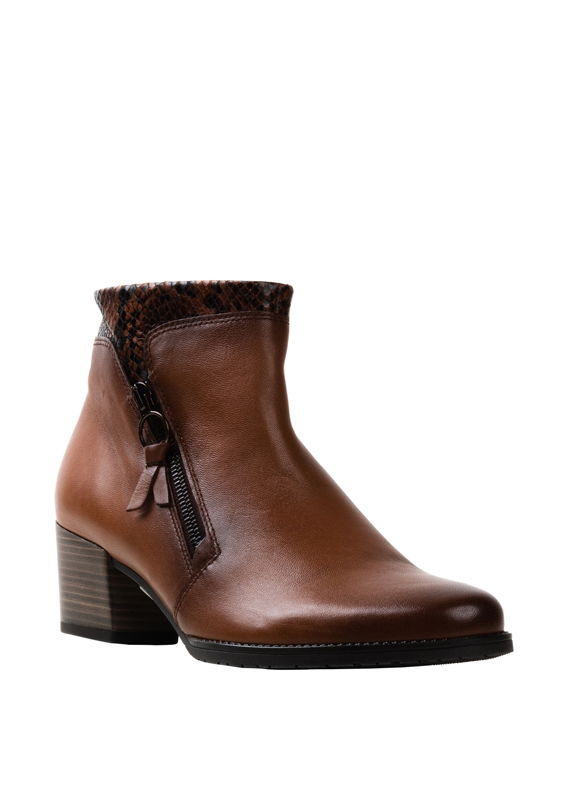 Gabor Comfort Leather G Wide Fit Reptile Cuff Boots, Brown