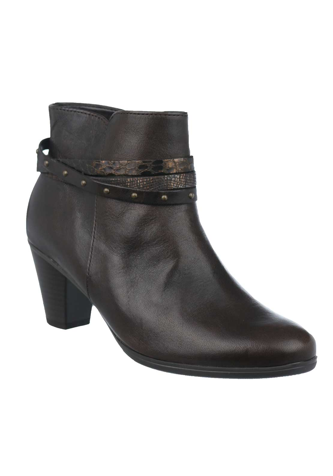 Gabor Leather Strappy Heeled Ankle Boots, Chocolate Brown