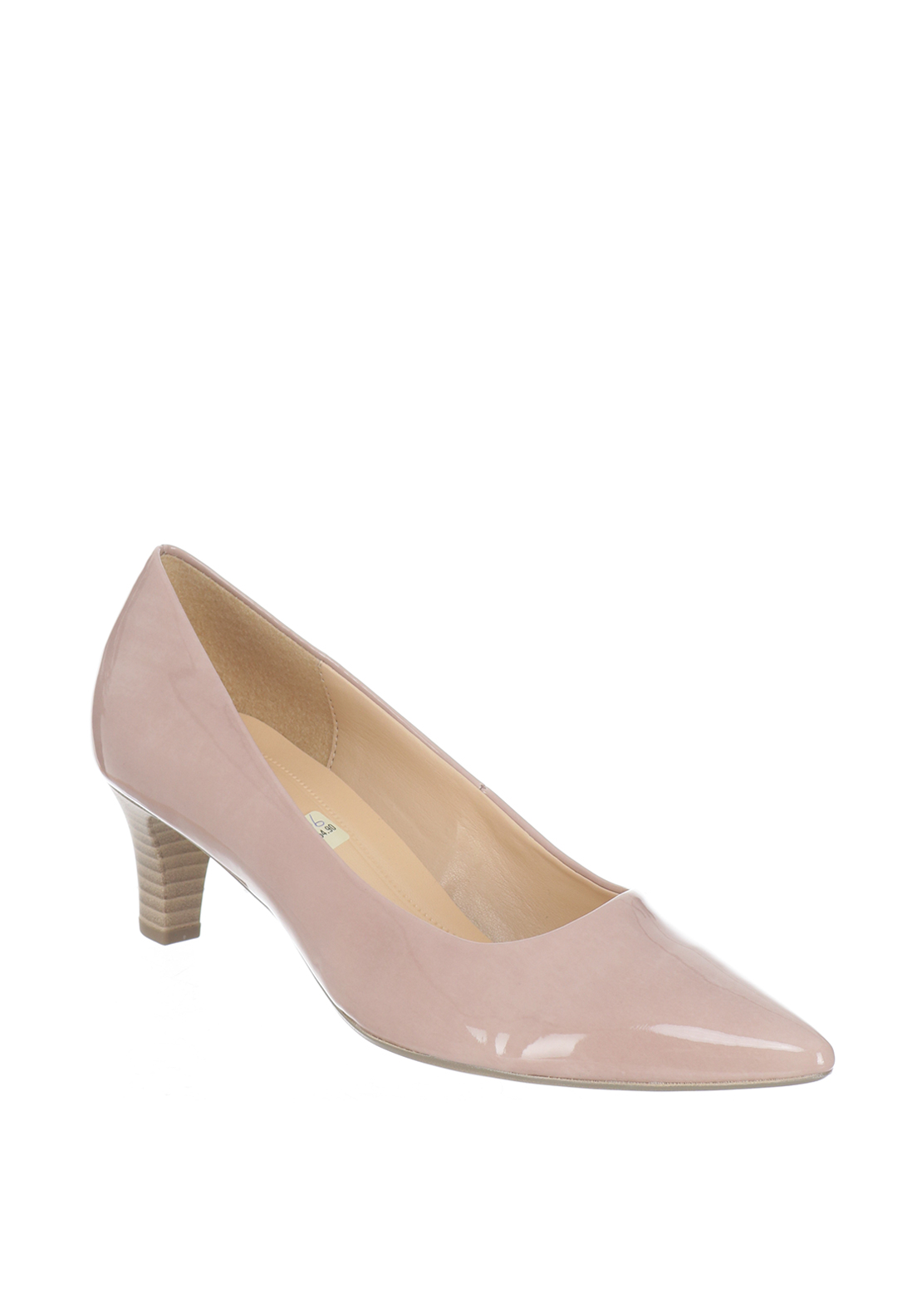 Gabor Patent Pointed Toe Heeled Court Shoes, Nude