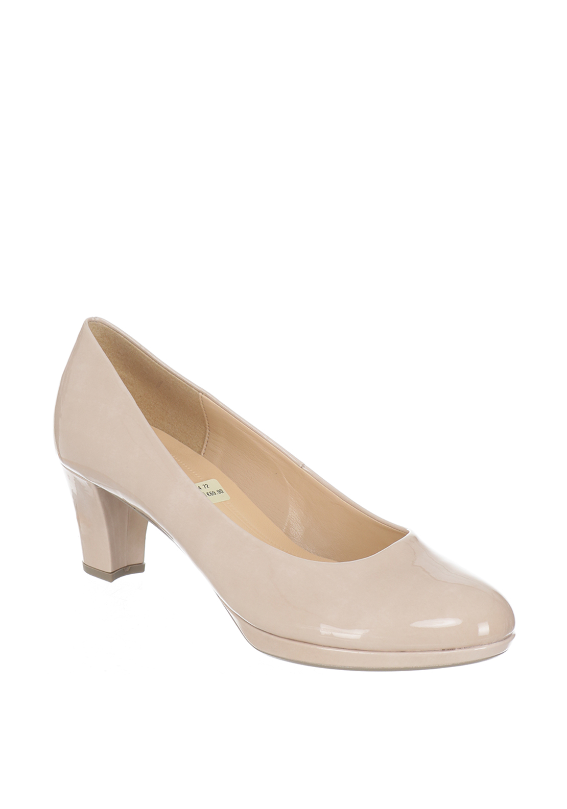 Gabor Patent Block Heeled Court Shoes, Nude
