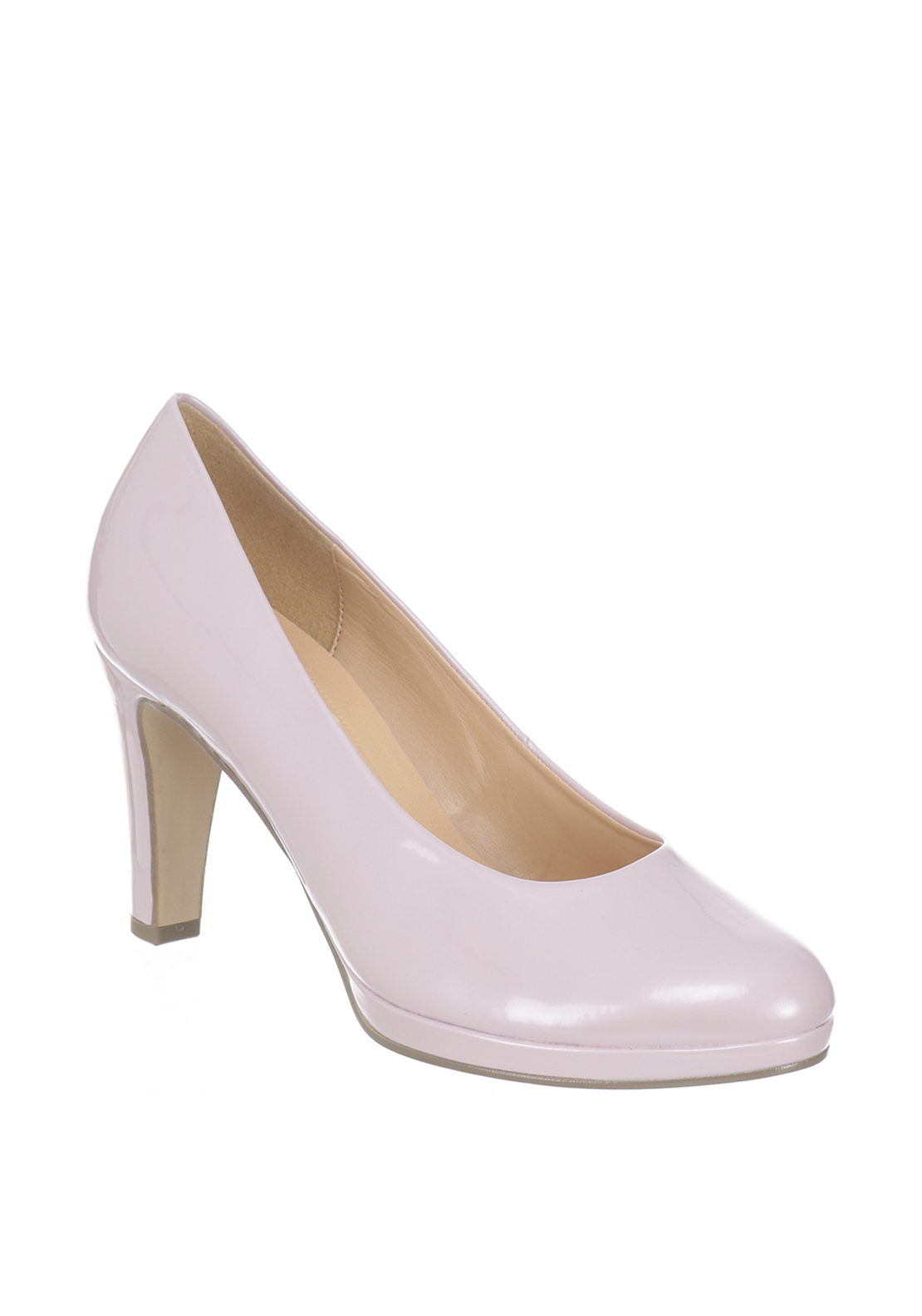 Gabor Patent Heeled Court Shoes, Pink Pearl