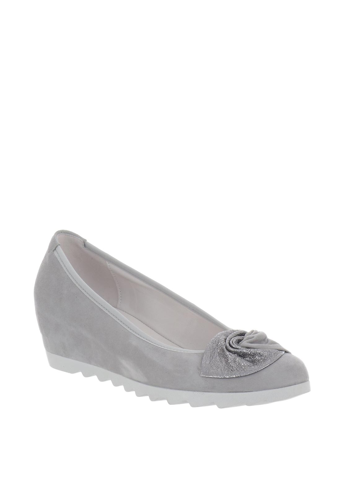 Gabor Suede Corsage Wedged Pumps, Grey