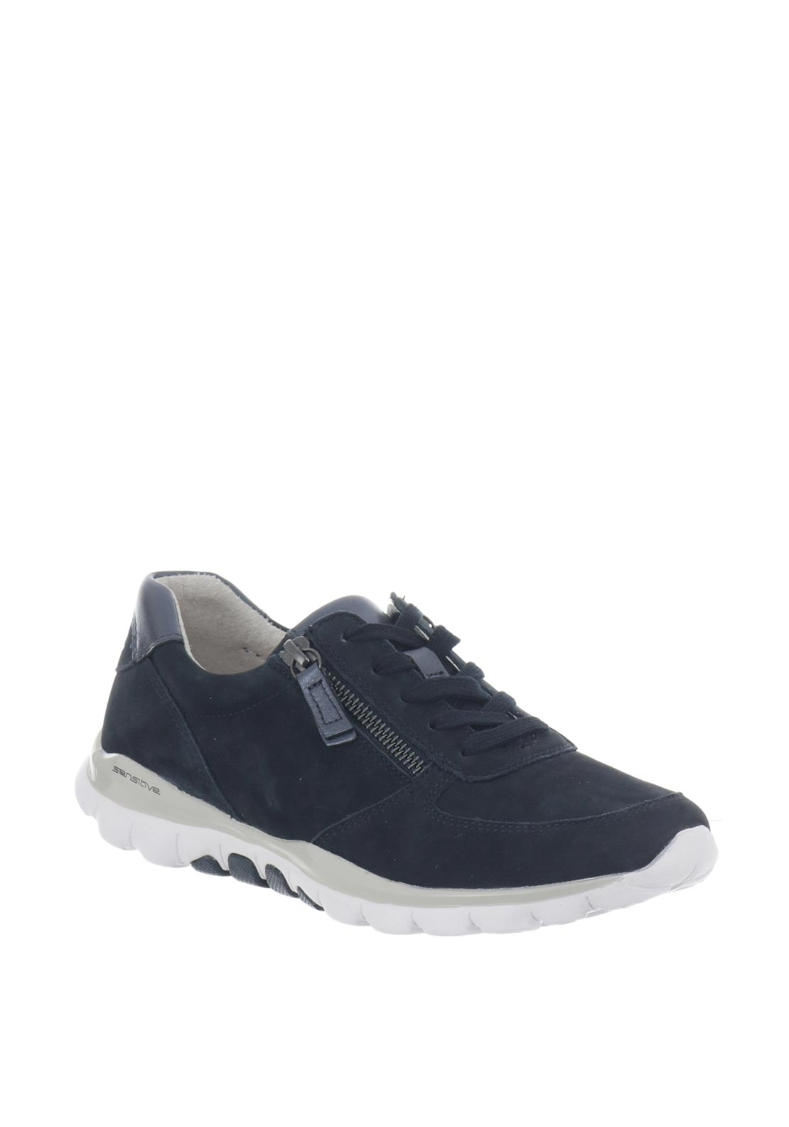 Gabor Rolling Soft Suede Zip Trainers, Navy