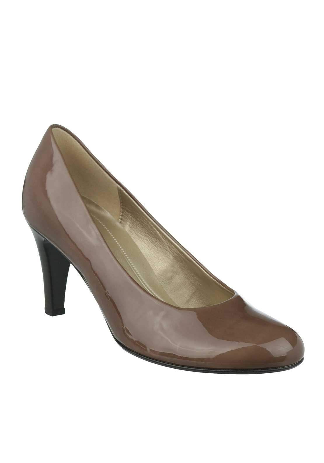 Gabor Patent Heeled Court Shoes, Taupe