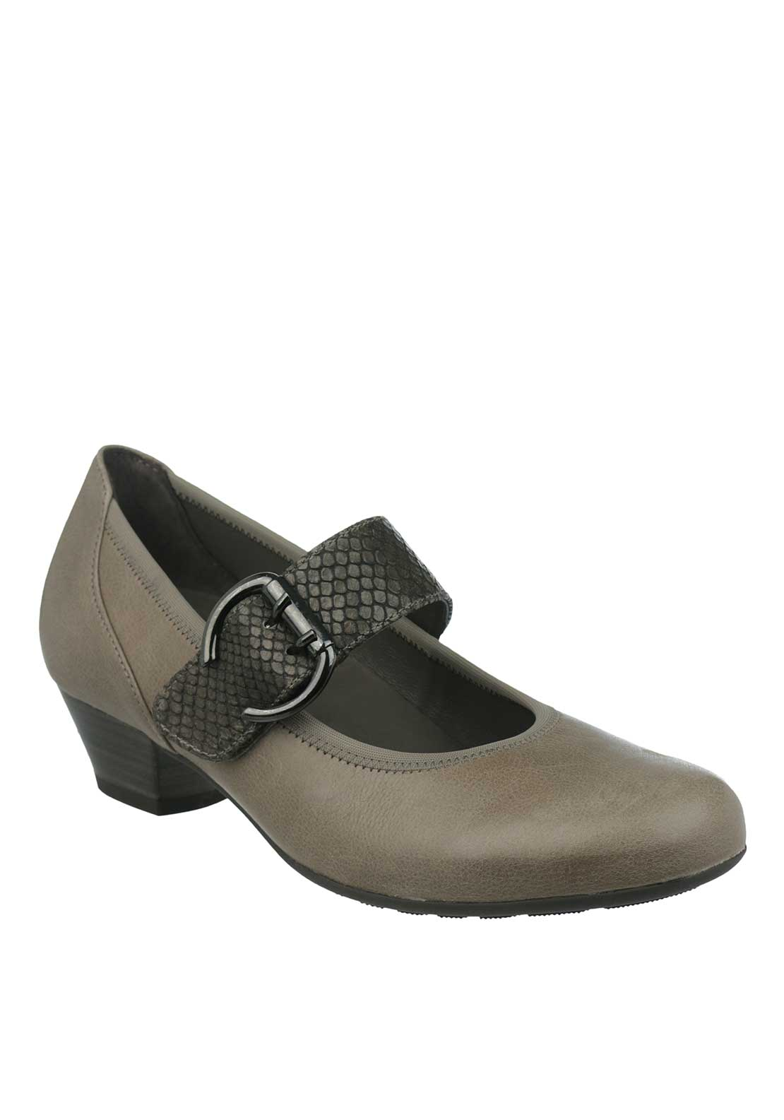 Gabor Leather Reptile Strap Heeled Pumps, Grey